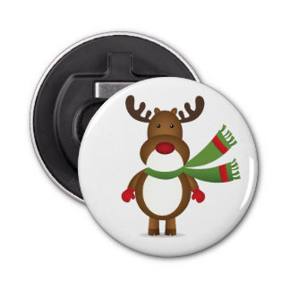 Reindeer Wearing a Green Scarf Bottle Opener