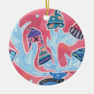 Reindeer wearing many Hats in Winter Christmas Ceramic Ornament