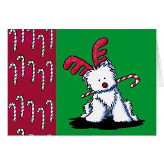 Reindeer Westie Christmas Card