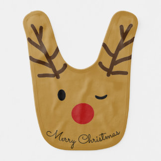 Reindeer Winking face Christmas Baby Bib