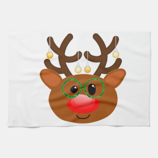 Reindeer with glasses hand towel