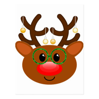 Reindeer with glasses postcard
