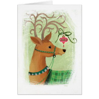 Reindeer  with Ornament Christmas Card