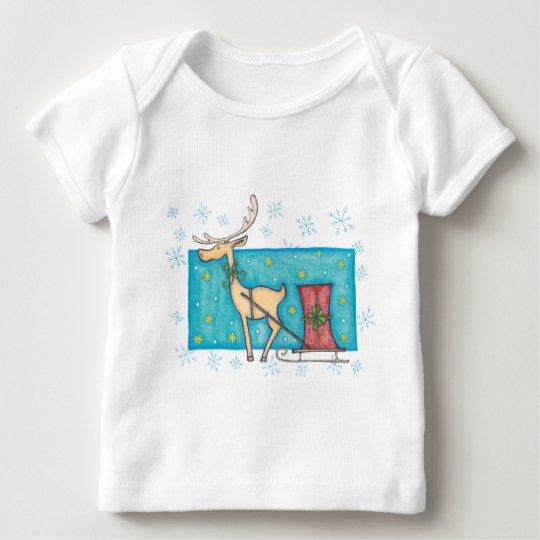 Reindeer with Package Baby T-Shirt