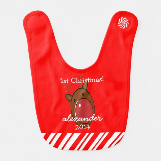 Reindeer With Red Nose Baby's First Christmas Bib