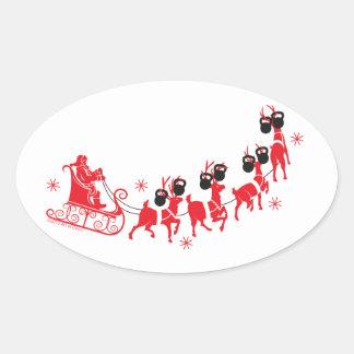 Reindeer Workout Oval Sticker