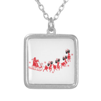 Reindeer Workout Silver Plated Necklace