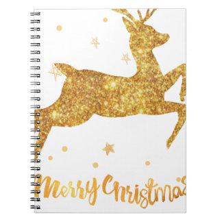 reindeere golden  stars notebooks