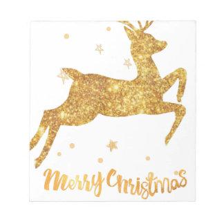 reindeere golden  stars notepad