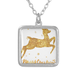 reindeere golden  stars silver plated necklace