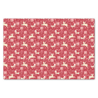Reindeers & birds red Christmas tissue paper