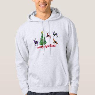 reindeers christmas tree funny men's hoodie