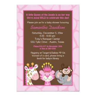 Reine de la jungle et de l'invitation de baby carton d'invitation  11,43 cm x 15,87 cm