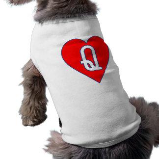 Reine d'habillement d'animal familier de coeurs tee-shirt pour animal domestique