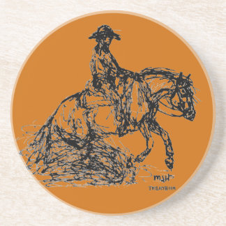 Reining Horse Simple Sketch Coaster