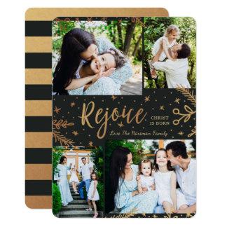 Rejoice | Collage Christmas Card | Faux Foil Black