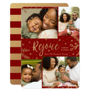 Rejoice | Collage Christmas Card | Faux Foil | Red
