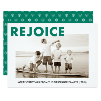 REJOICE Green Holiday Religious Christmas Card