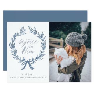 "Rejoice in Him Wreath Holiday Photo Card 5"" X 7"" Invitation Card"