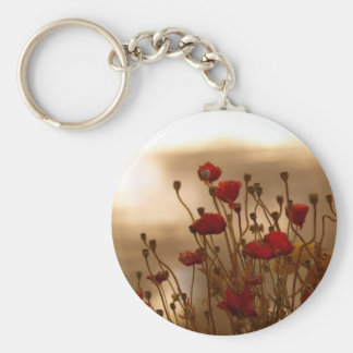 REJOICE Red Poppies Floral Design Basic Round Button Keychain
