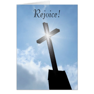 Rejoice Religious Cross Spiritual Greeting Card