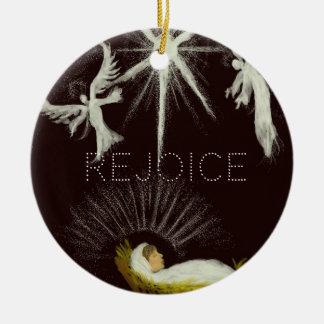 Rejoice! Round Ceramic Ornament
