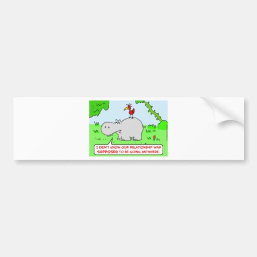 relationship going anywhere hippo bird bumper stickers