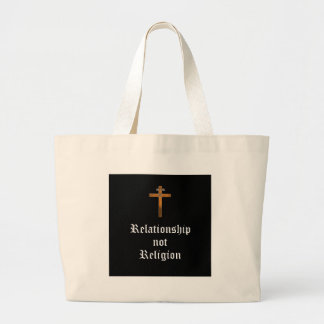 """Relationship Not Religion"" Large Tote Bag"
