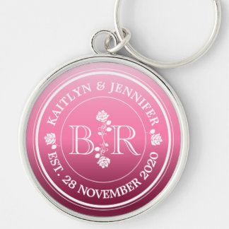 Relationship of Equals Monogram Rose Pink Ombre Silver-Colored Round Keychain
