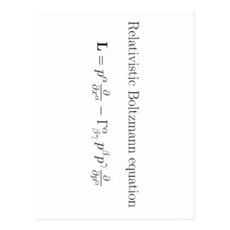 Relativistic Boltzmann equation Postcard