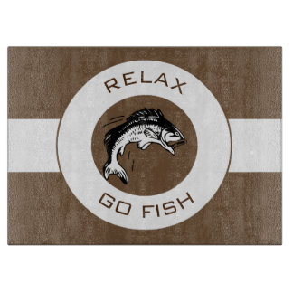 RELAX AND GO FISHING CUTTING BOARD