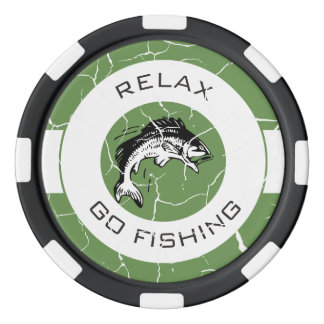 RELAX AND GO FISHING POKER CHIPS