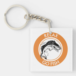 RELAX AND GO FISHING Single-Sided SQUARE ACRYLIC KEYCHAIN