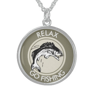 RELAX AND GO FISHING STERLING SILVER NECKLACE
