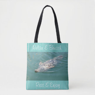Relax Beach Bag with Cute Seals and Teal Stripes