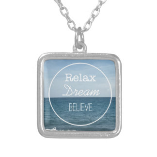 Relax Dream Believe Silver Plated Necklace