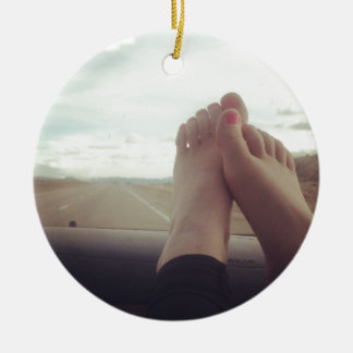 relax feet on the dashboard ceramic ornament