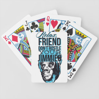 relax friends don't rustle, monkey bicycle playing cards
