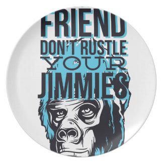 relax friends don't rustle, monkey plate