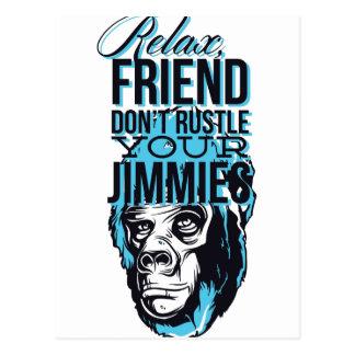 relax friends don't rustle, monkey postcard