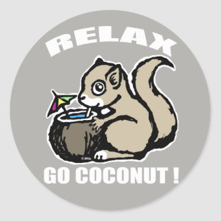 Relax! Go Coconut Classic Round Sticker