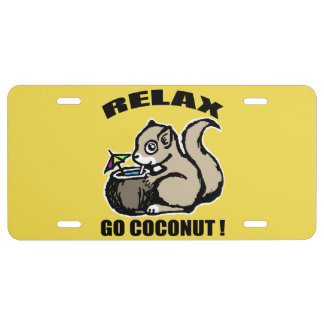 Relax! Go Coconut License Plate