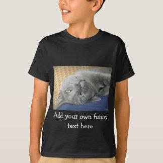 Relax! Grey Purring Cat - black T-shirt for Kids