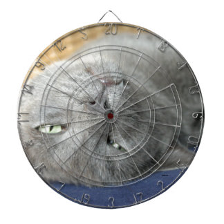 Relax! Grey Purring Cat Dartboard with Darts