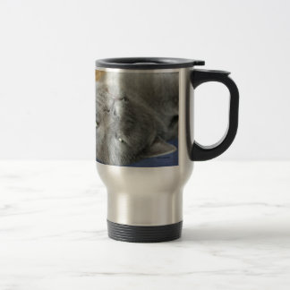 Relax! Grey Purring Cat Travel Mug