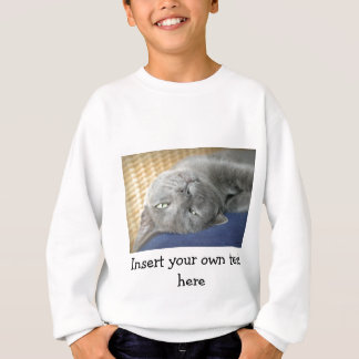 Relax! Grey Purring Cat - white Sweater for Kids