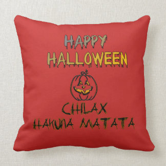 Relax Happy Halloween Spooky No Worry No Problem Throw Pillow