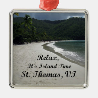 Relax, it's island time, St. Thomas VI Silver-Colored Square Ornament