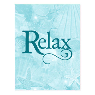 Relax on soothing seashells postcard