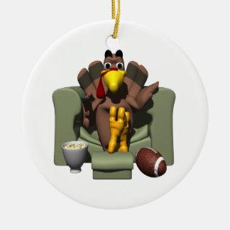 Relax On Turkey Day Round Ceramic Ornament